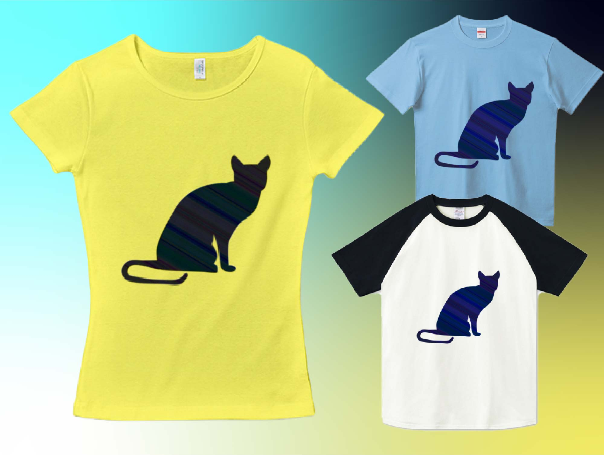シンプルなロシアンブルーの猫シルエットTシャツ
