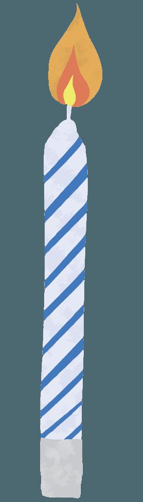 青いシマシマのろうそくイラスト