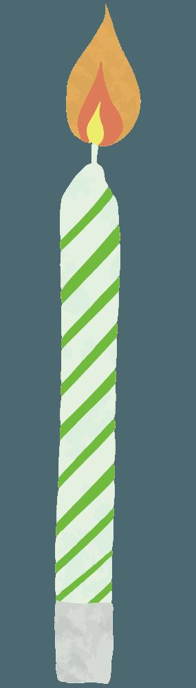 緑色のシマシマのろうそくイラスト