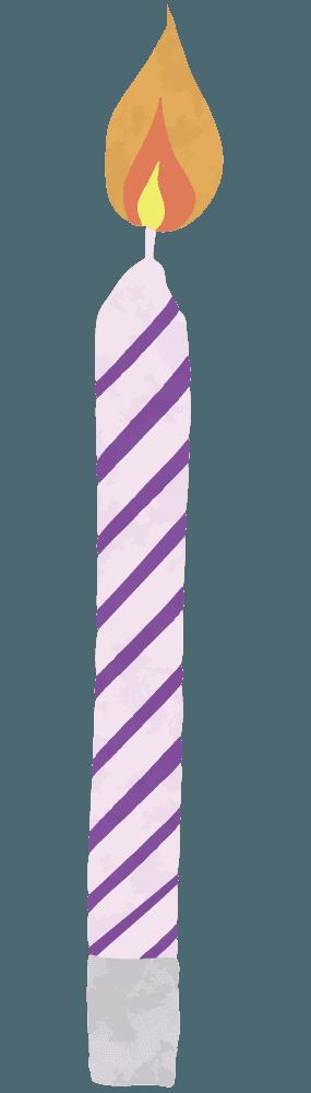 紫色のシマシマのろうそくイラスト