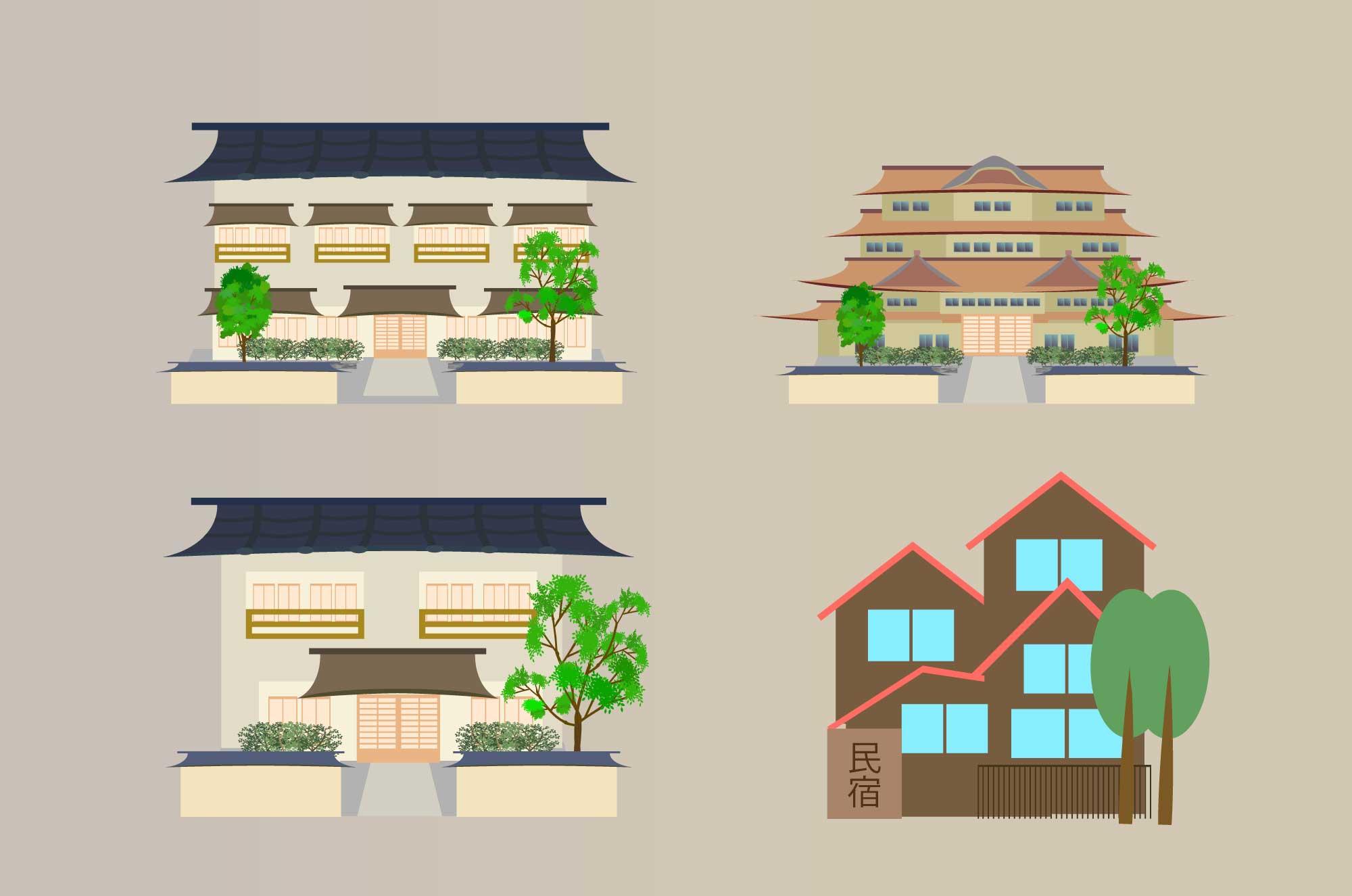 旅館・民宿のイラスト - 無料の古風な建物フリー素材