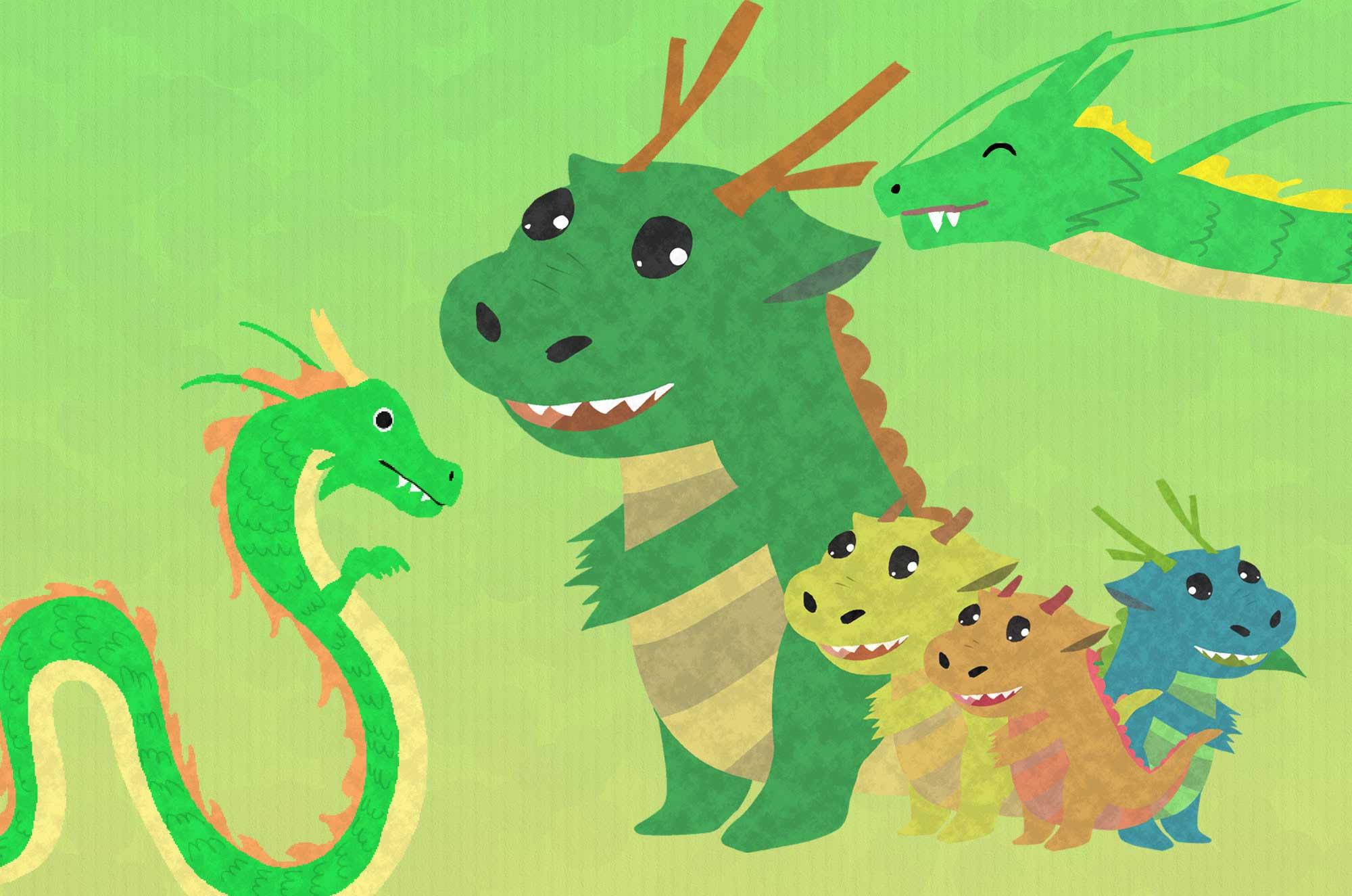 可愛い龍のイラスト - フリーの空想動物素材
