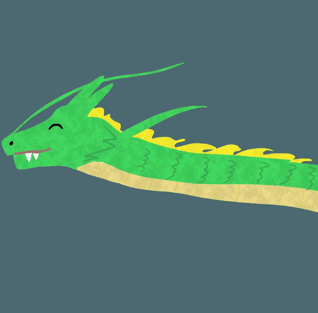 笑顔の龍の首イラスト