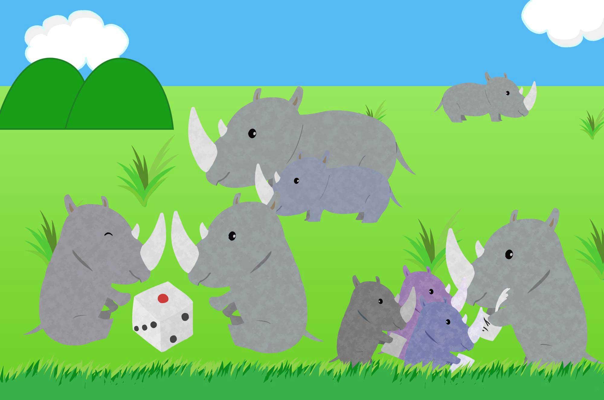 可愛いサイのイラスト - 面白くて変わった動物無料素材