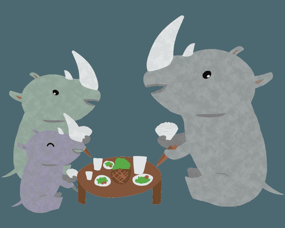 ご飯を食べる食卓のサイのイラスト