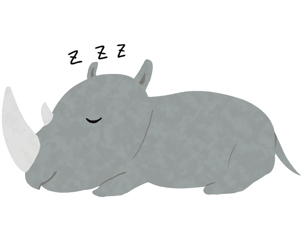 寝ているサイのイラスト