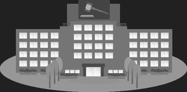 白黒の裁判所のイラスト