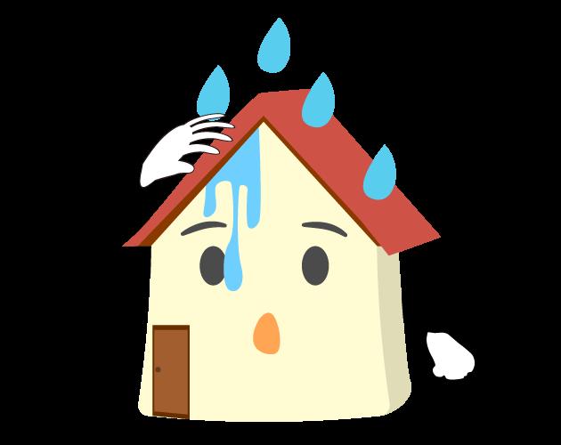 雨漏りするマイホームのイラスト