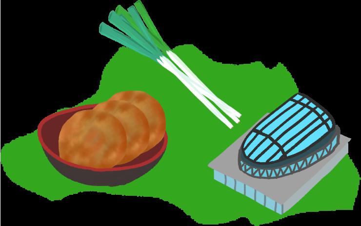 スタジアム、せんべい、ねぎの名産と埼玉の大陸イラスト