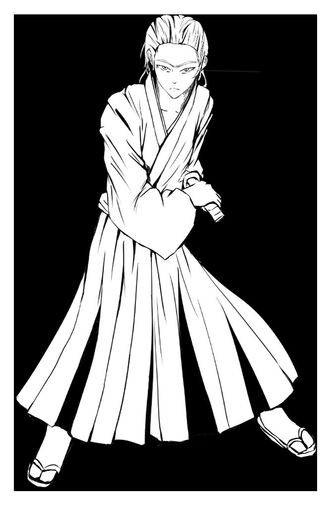 坂本龍馬のイラスト(線画)