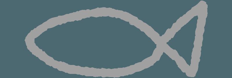 水彩で描いた線の魚のイラスト