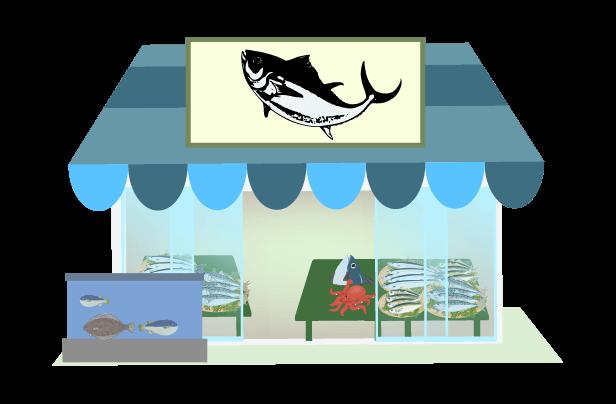 シンプルな魚屋のイラスト