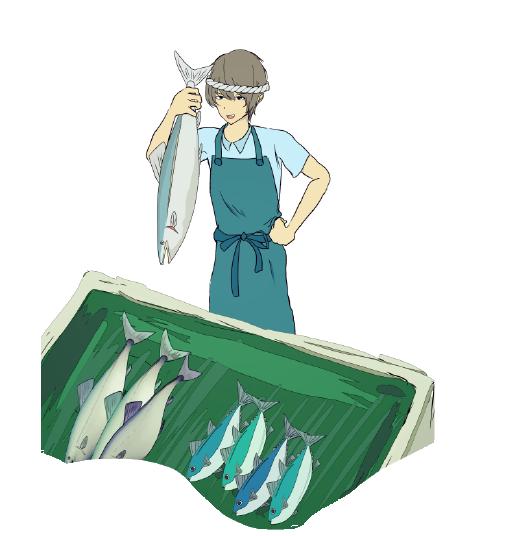 魚屋の職業イメージ挿絵イラスト