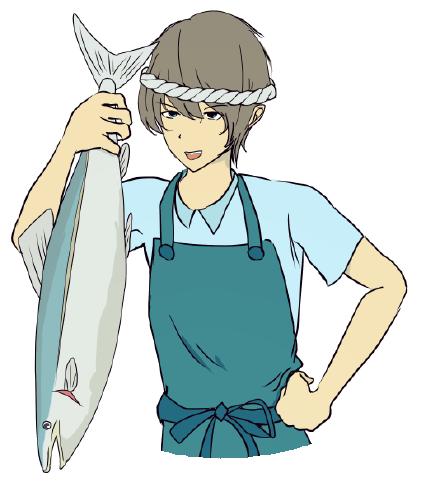 魚屋のキャラクターイラストバストショット