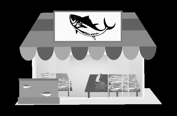 白黒の魚屋のイラスト