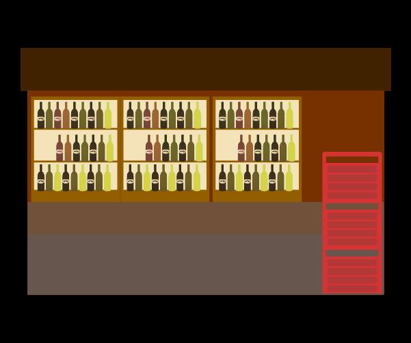 酒屋の店内のイラスト