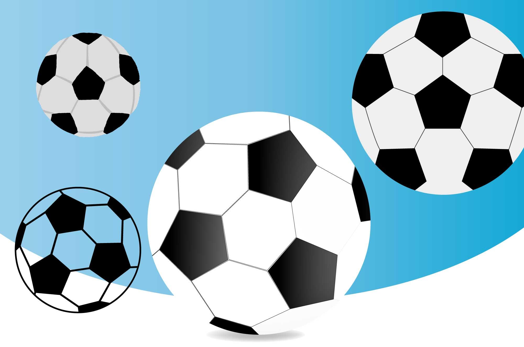 サッカーボールの無料イラスト - 可愛い/かっこいい