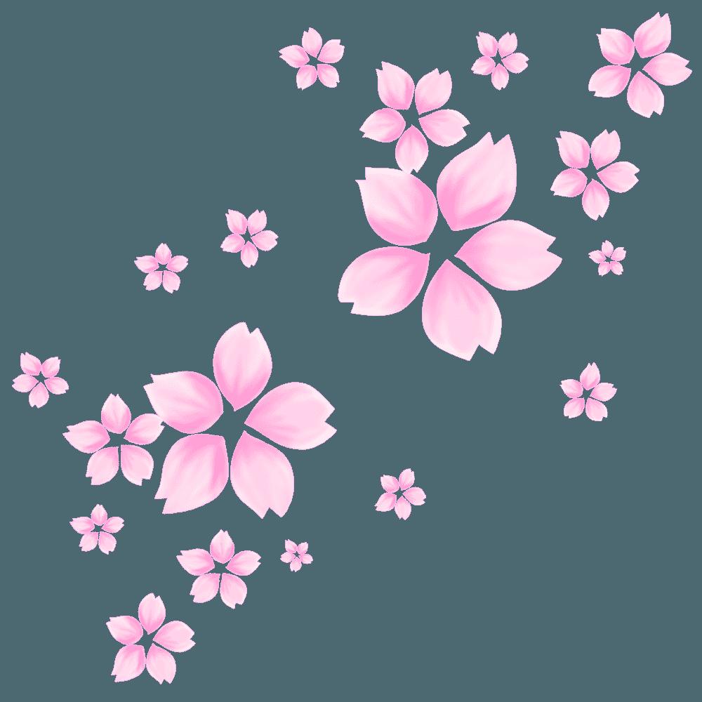 乱れ咲きの桜の花イラスト