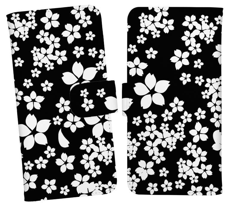 シンプルなブラックの桜柄スマホケース