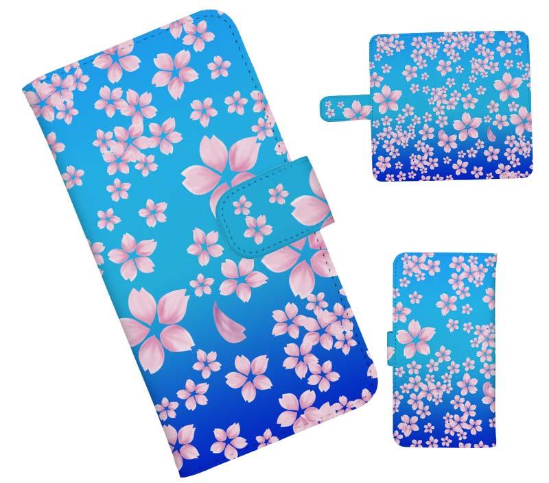 江戸ブルー生粋なブルーの桜柄スマホケース