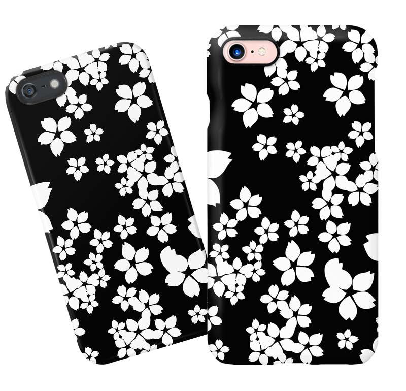 ブラック桜柄iphoneケース