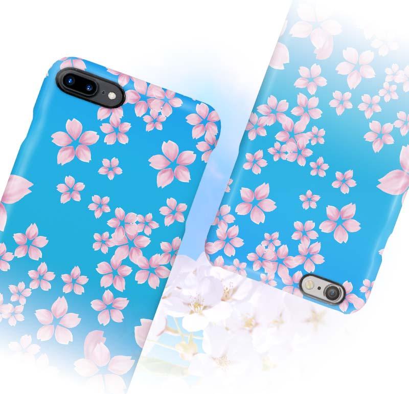 江戸ブルー生粋な桜柄iphoneケース