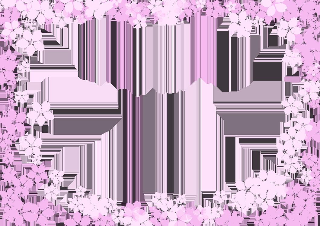 桜の四角フレーム(背景なし幅2×748)