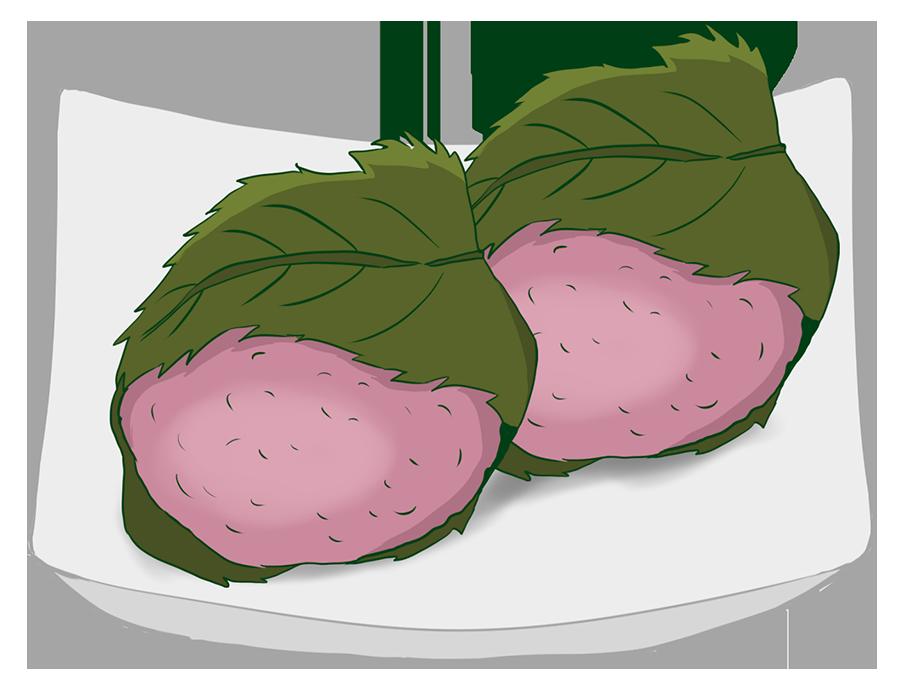桜餅のイラスト(カラー)
