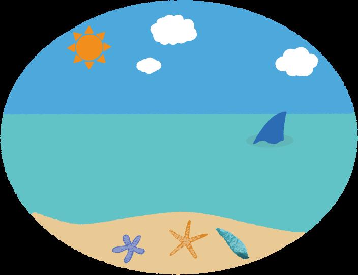 ビーチとジョーズのイラスト
