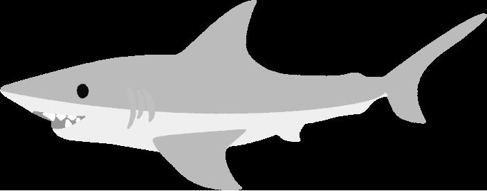 サメの白黒印刷様イラスト