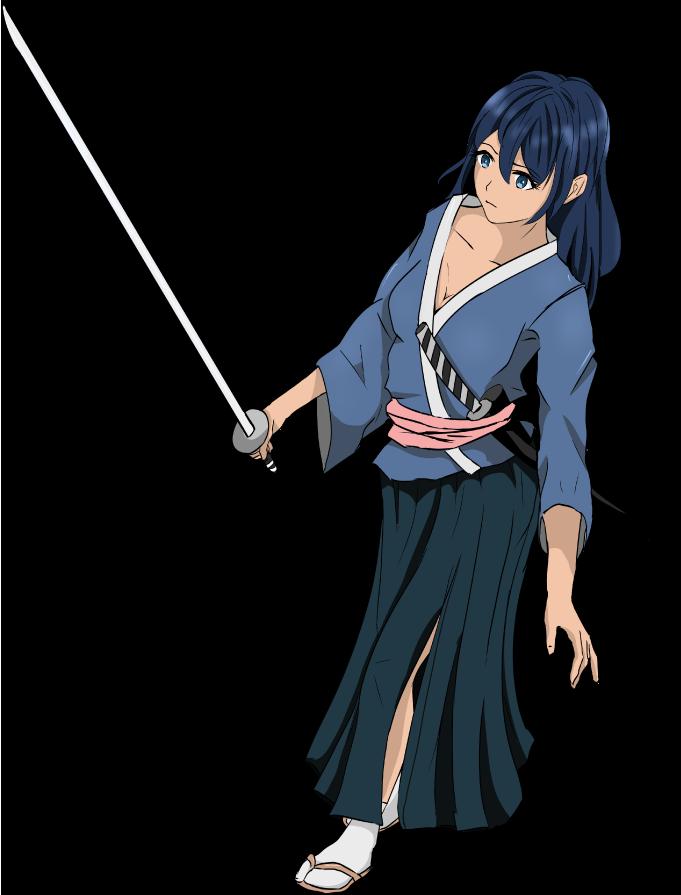 侍のイラスト(刀を持って歩く)