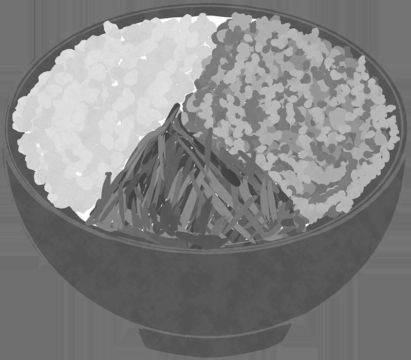 白黒の三色丼のイラスト