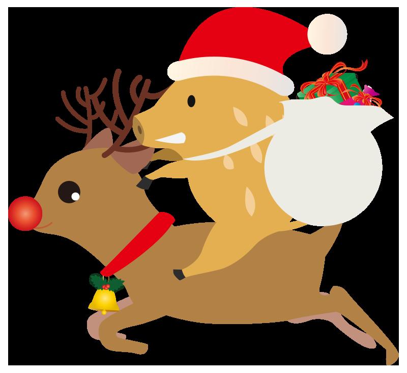 サンタクロースいのししのイラスト