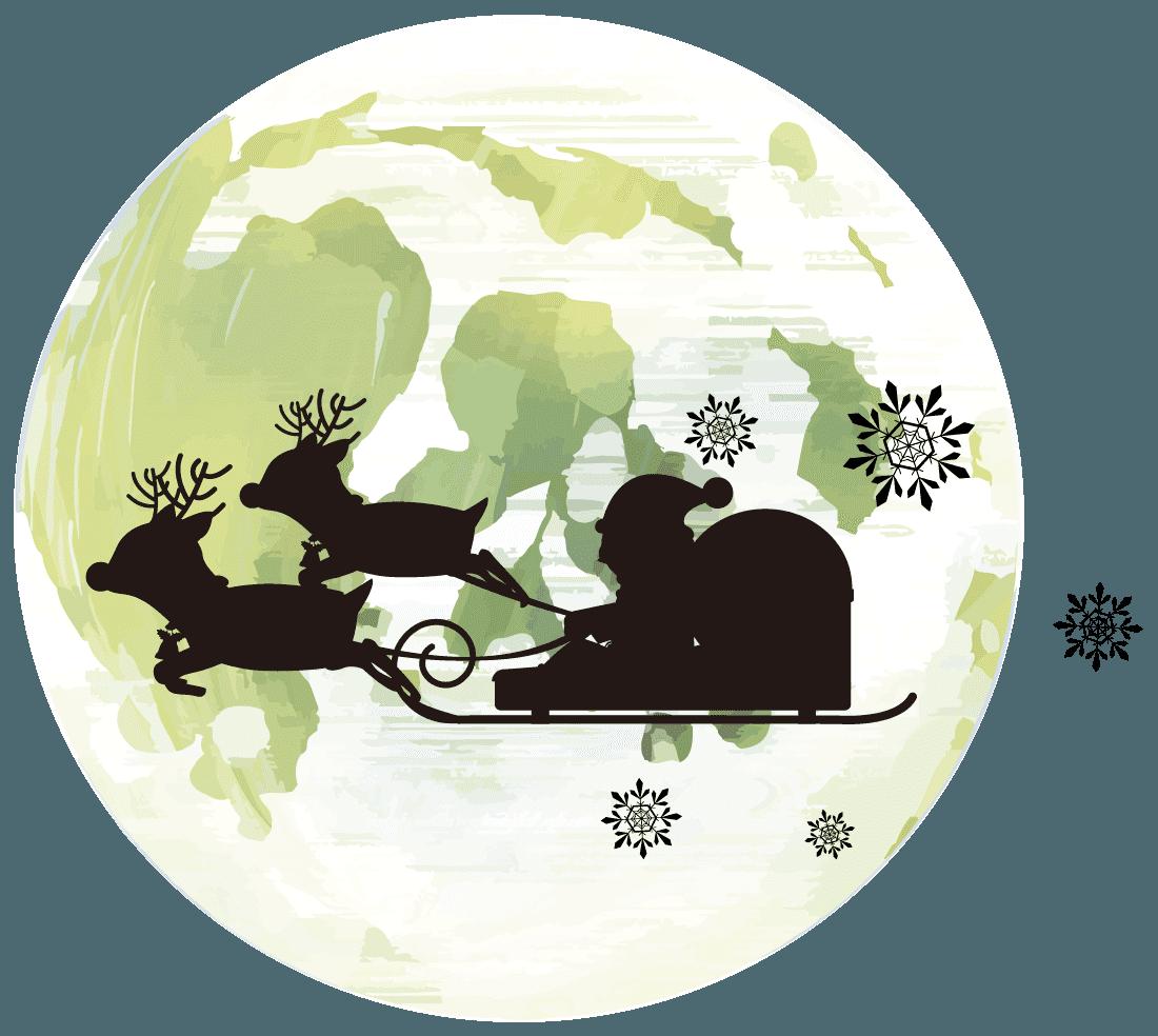 月とサンタクロースのシルエットのイラスト