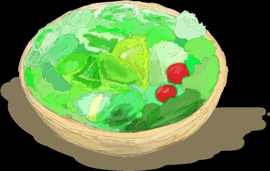 サラダのいイラスト水彩風
