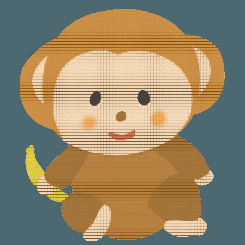 パッチワーク猿のイラスト