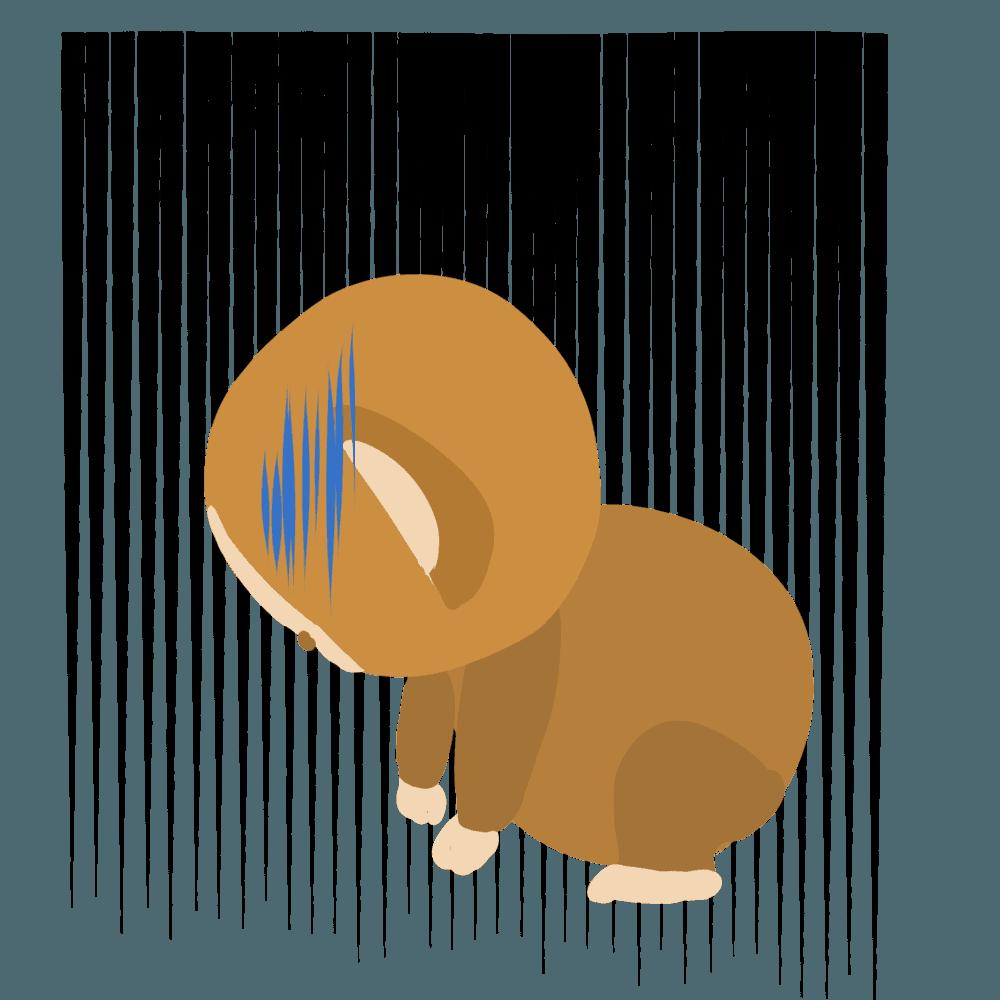 ガーンとショックを受ける猿イラスト