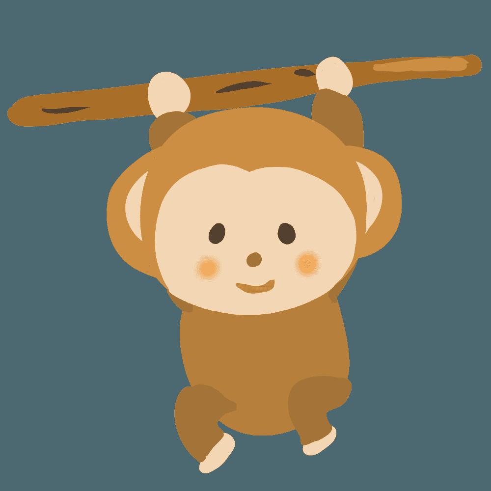 木にぶら下がる猿イラスト