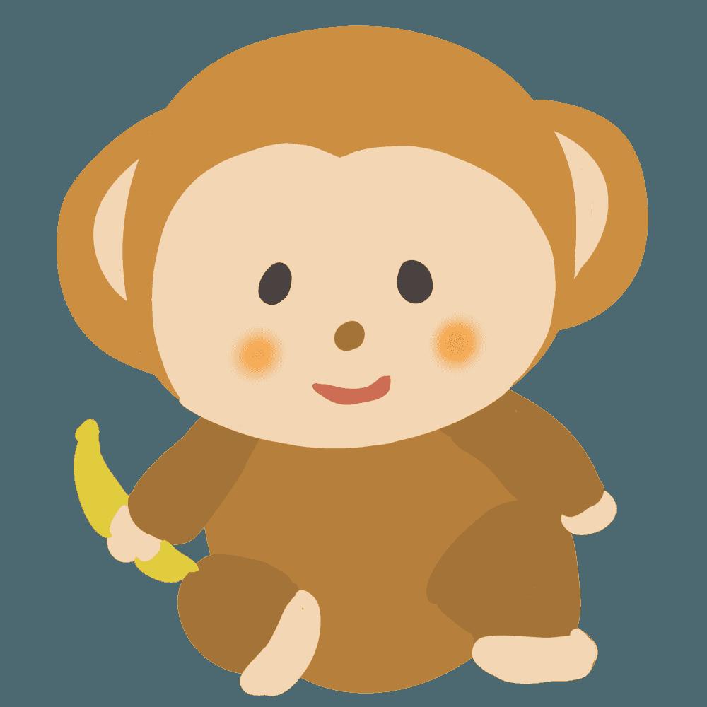 バナナを持つ猿イラスト