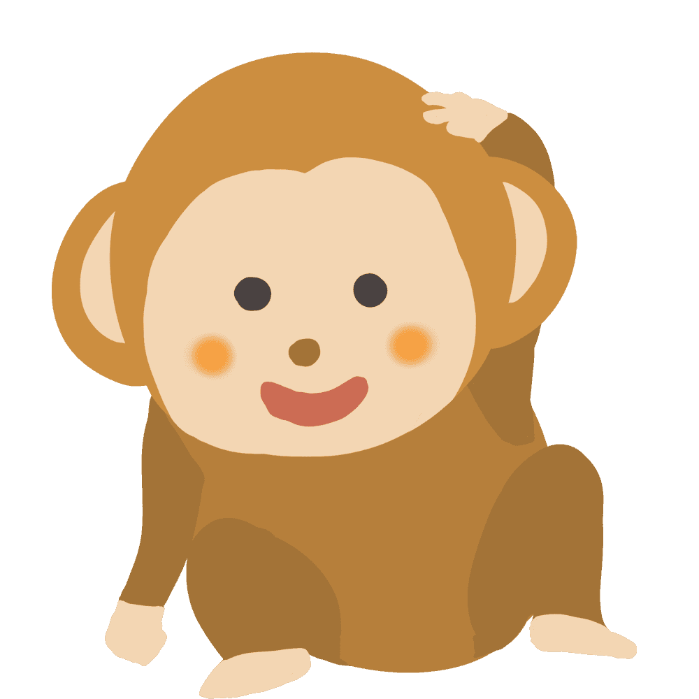 頭をかく猿イラスト