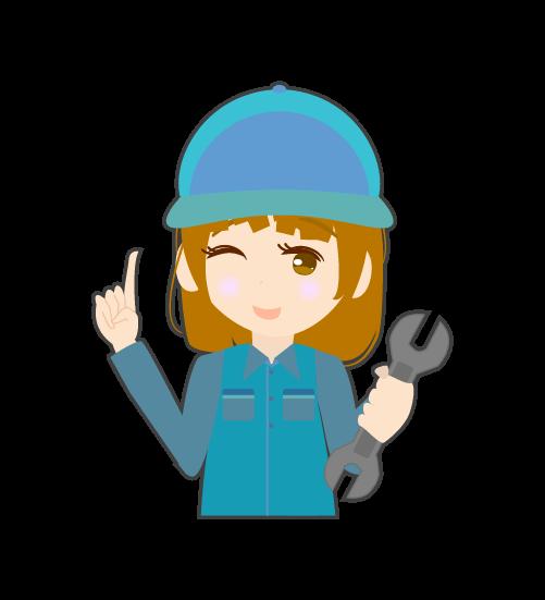 指差しする整備士(女)のイラスト