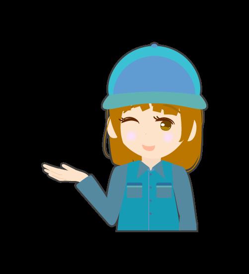 案内する整備士(女)のイラスト
