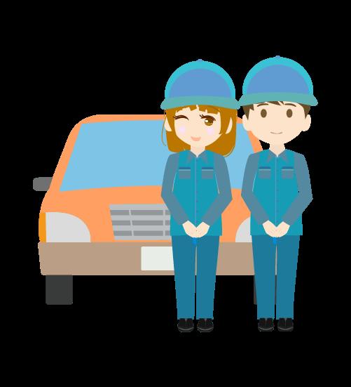 整備士と車(男女)のイラスト