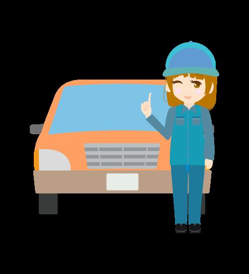 車と整備士のイラスト2