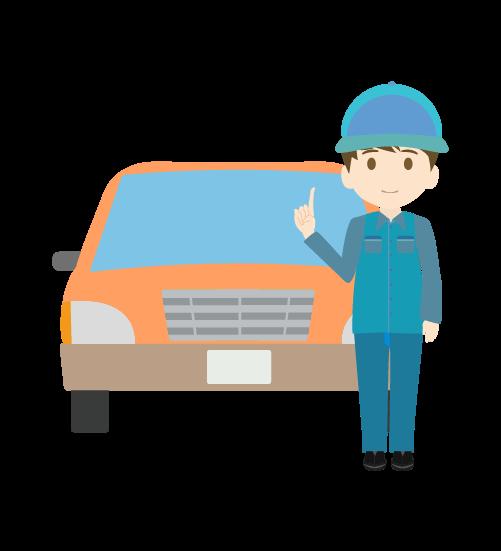 車と指差しする整備士(男)のイラスト