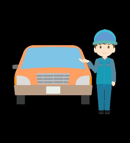 車と案内する整備士(男)のイラスト
