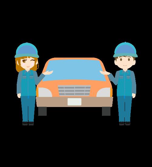 車と案内する整備士(男女)のイラスト