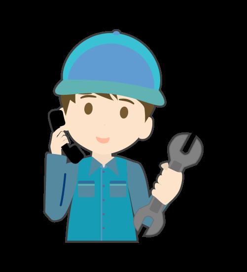 電話をする整備士(男)のイラスト