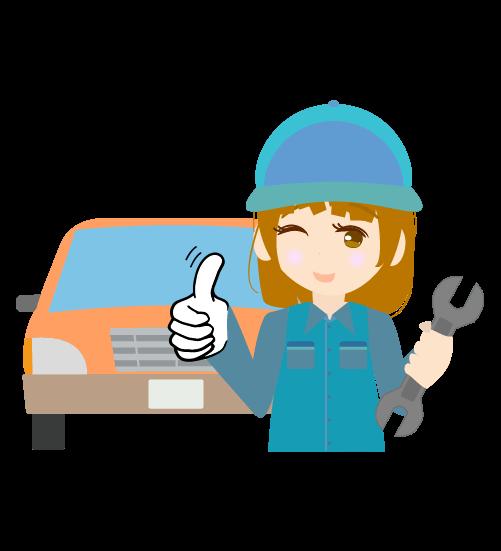 車とグッドする整備士(女)のイラスト