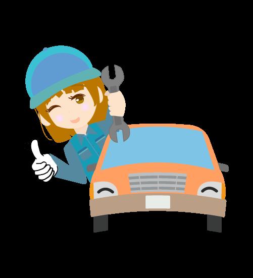 車に乗る整備士のイラスト
